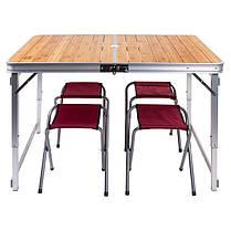 Стол раскладной туристический для кемпинга GreenCamp GC-9001 и 4 стула, фото 3