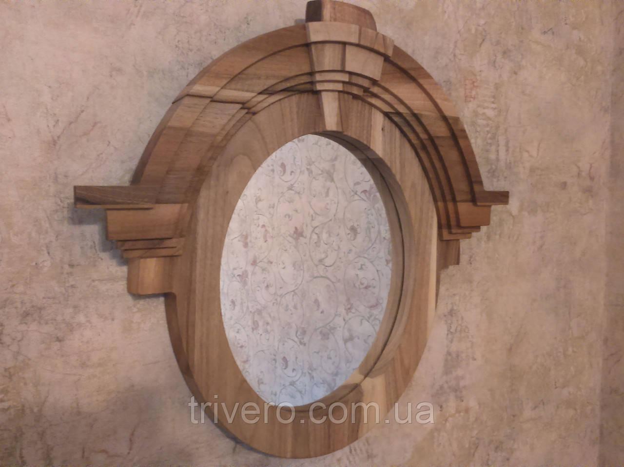 Зеркало в деревянной раме в лофт стиле орех