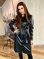 Женское черное платье-рубашка из экокожи