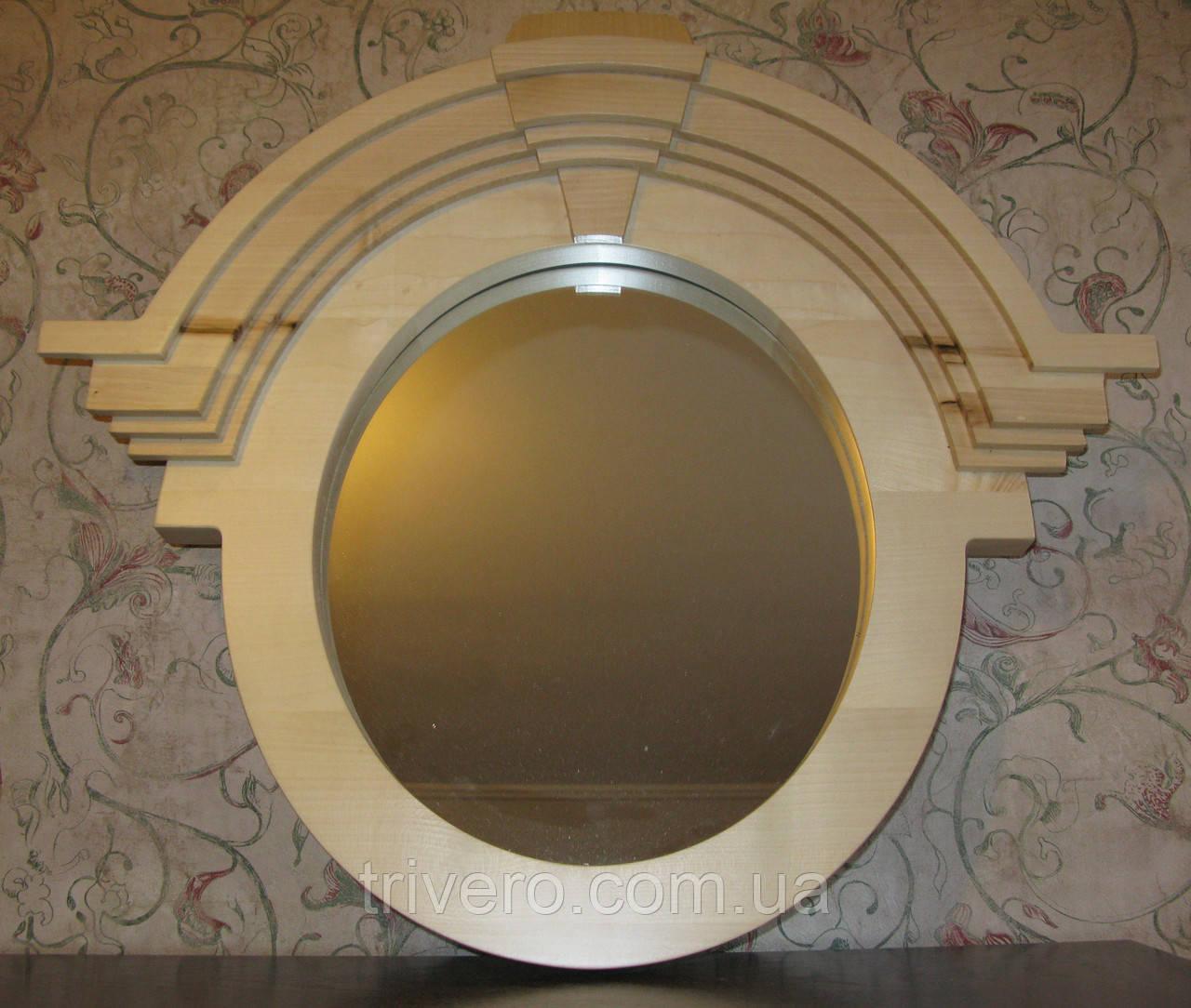 Зеркало в деревянной раме в лофт стиле клен лак