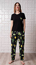 Женский домашний костюм, женская пижама (футболка и брюки) черная Кактусы, размер M