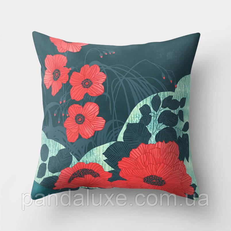 Наволочка для декоративной подушки 45х45 см Красные цветы, фото 2