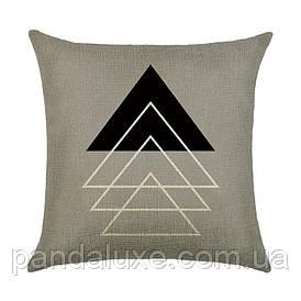 Наволочка для декоративної подушки 45х45 см Трикутники