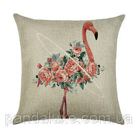 Наволочка для декоративной подушки 45х45 см Фламинго в цветах