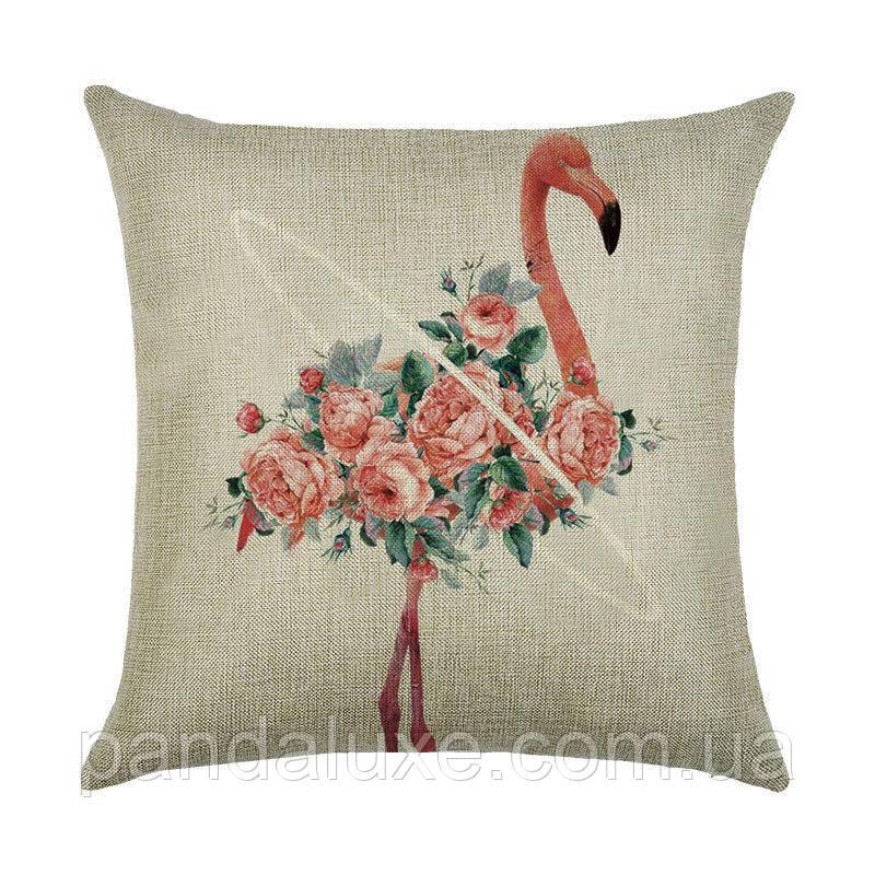 Наволочка для декоративной подушки 45х45 см Фламинго в цветах, фото 2