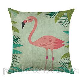 Наволочка для декоративної подушки 45х45 см Фламінго в джунглях