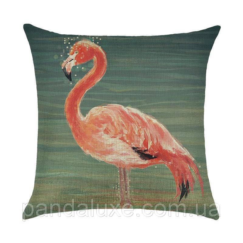 Наволочка для декоративной подушки 45х45 см Фламинго в воде