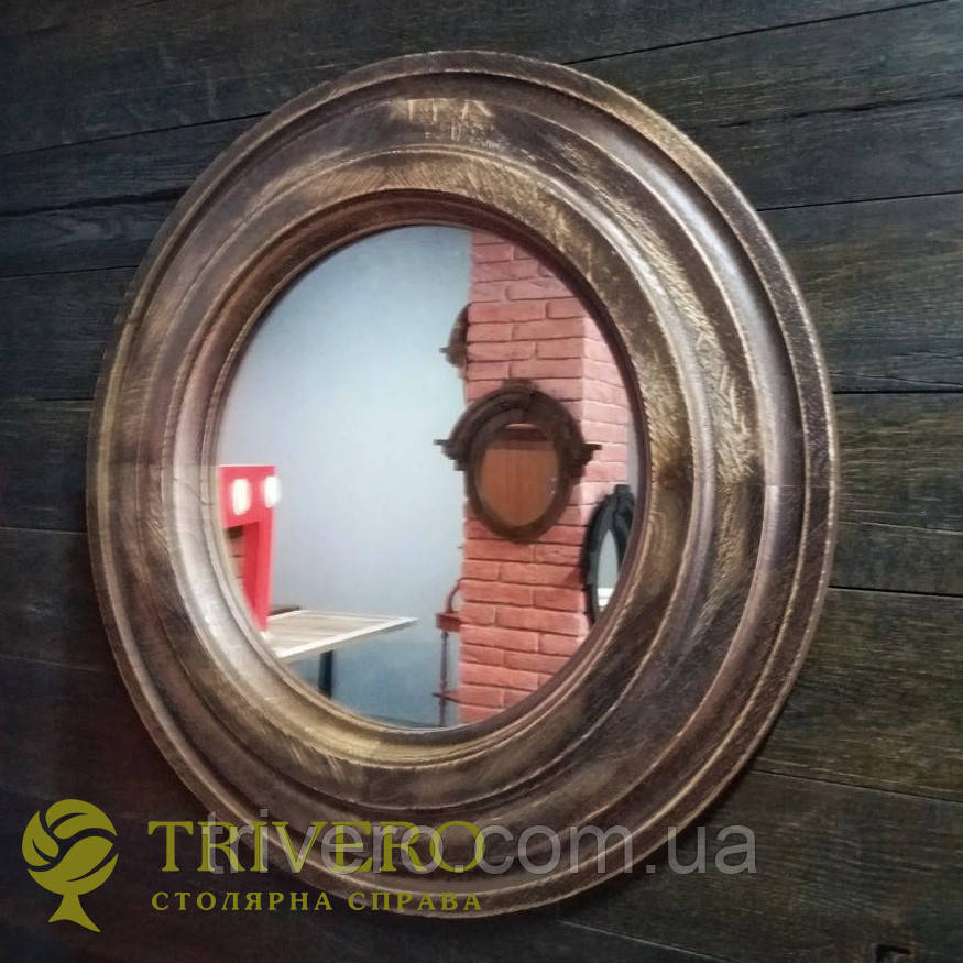 Круглое зеркало в деревянной раме Z-18101 дерево