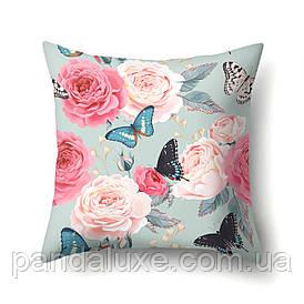 Наволочка для декоративної подушки 45х45 см Метелики і троянди