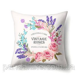 Наволочка для декоративної подушки 45х45 см Пастельні квіти