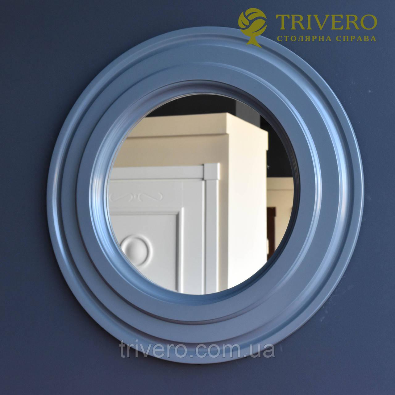 Круглое зеркало в деревянной раме Z-18102 серый