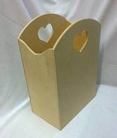 Короб с сердечком 20х13х30 см фанера заготовка для декора