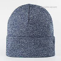 Вязаная шапка с отворотом Окси светлый джинс меланж
