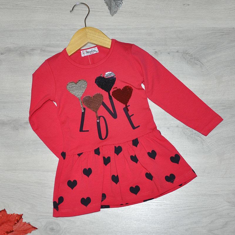 Детское трикотажное платье, размер 1-4 года (4 ед. в уп.) красный
