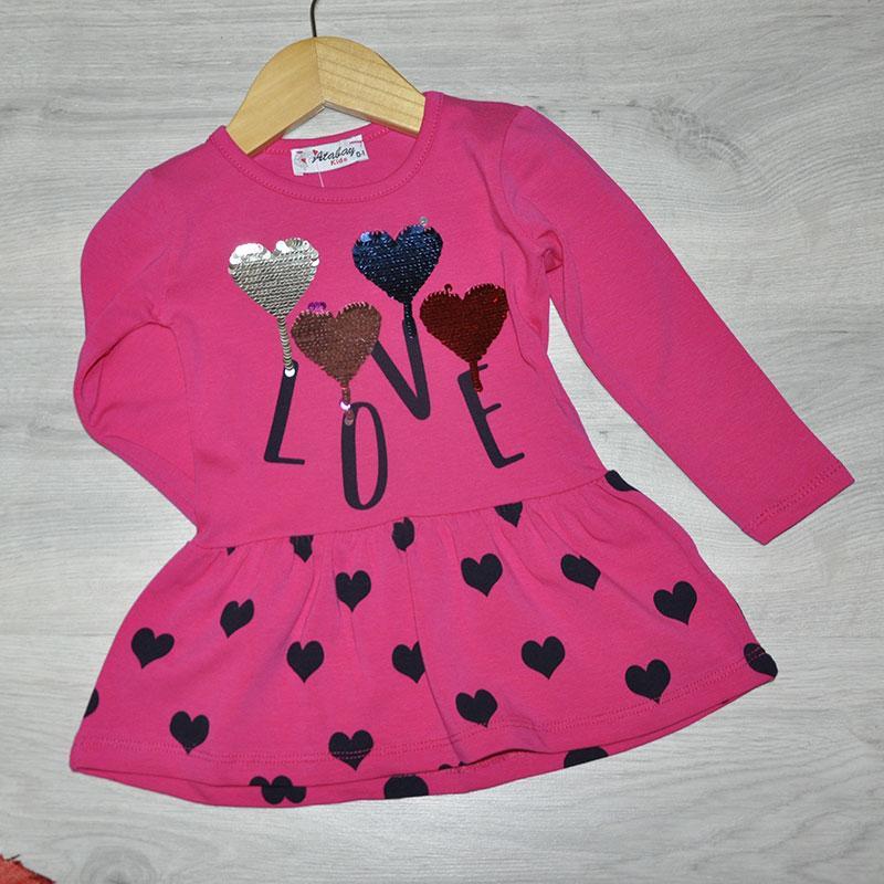 Детское трикотажное платье, размер 1-4 года (4 ед. в уп.) малиновый