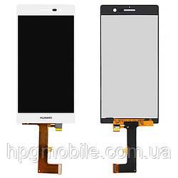 Дисплейный модуль (дисплей + сенсор) для Huawei Ascend P7, белый, оригинал