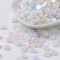 Бусины Акрил, Прозрачные, АВ цвет, Сердце, Цвет: Белый