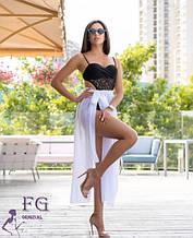Парео-юбка пляжная белая - размер (универсальный), длина 97см, шифон