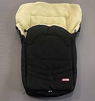 Зимний конверт чехол с утеплителем на овчине черный в коляску или санки