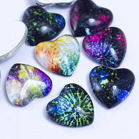 Кабошоны стеклянные, сердце, цвет разноцветный УТ0028654