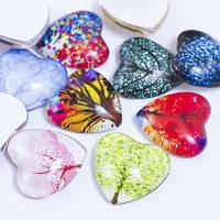 Кабошоны стеклянные, сердце, цвет разноцветный УТ0028652