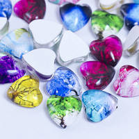 Кабошоны стеклянные, сердце, цвет разноцветный УТ0028656