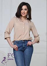 Легкая базовая блузка с карманами спереди и рукавами 3/4 персиковая, фото 3