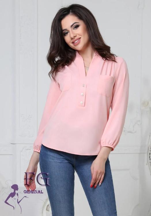 Легкая базовая блузка с карманами спереди и рукавами 3/4 персиковая