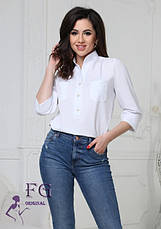 Легкая базовая блузка с карманами спереди и рукавами 3/4 персиковая, фото 2