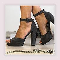 Женские босоножки на высоком каблуке и платформе серая замша, закрытая пятка, фото 1
