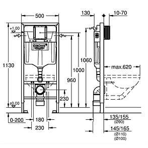Комплект: PRO унитаз Rimless, подвесной, в комплекте с сиденьем Slim, Rapid SL инсталяционная система 3в1,Grohe звукоизоляционный комплект, фото 2