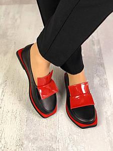 Женские черно-красные туфли лоферы из натуральной кожи 36-40 р