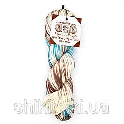 Трикотажный хлопковый шнур Cotton Filled Hand Dyed, цвет коричнево-бирюзовый
