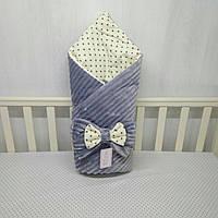 """Демисизонный конверт-плед на выписку""""Миля""""с плюшем минки серый"""