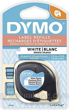 Лента пластиковая, белая 12мм х 4м DYMO для принтера LetraTag