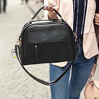 Черная маленькая женская сумочка через плечо сумка кросс-боди клатч кожзам
