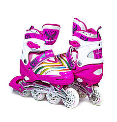 Ролики розтяжні SCALE SPORTS LF 907M-P-S (6шт)  рожеві,  PINK, розмір S (29-33) PU колеса 4 шт., у сумці