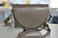 Модная женская кожаная сумка-седло таупе