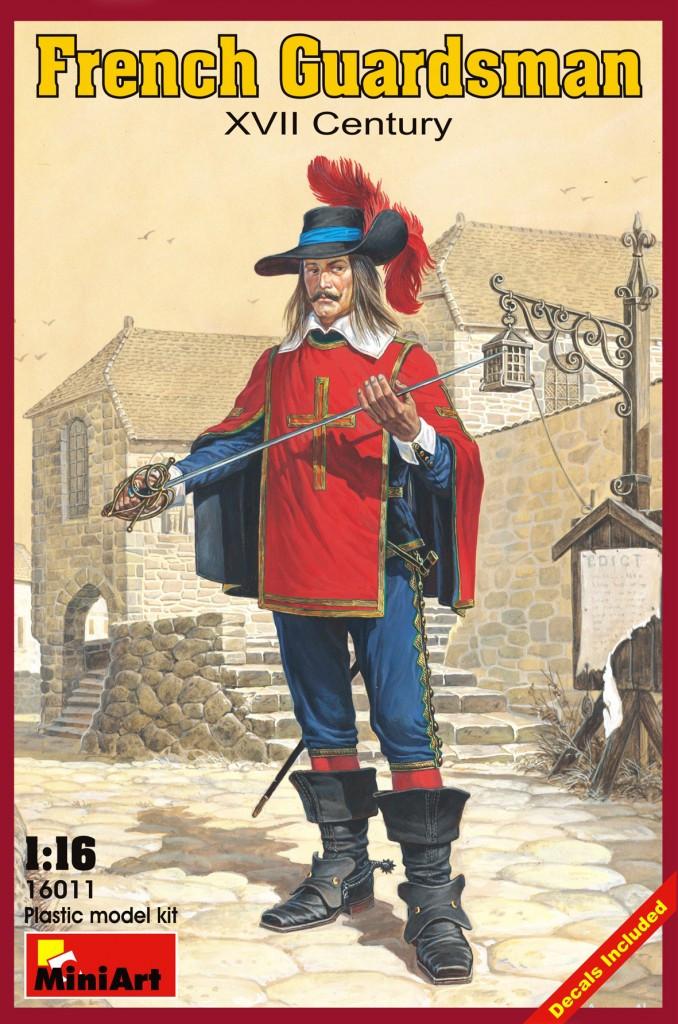 Французский гвардеец XVII век. Сборная пластиковая фигурка в масштабе 1/16. MINIART 16011
