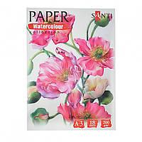 Набор акварельной бумаги  А3, Floristics 18 лист, 200 гр, Paper Watercolor Collection  Santi 742616