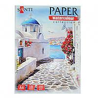 Набор акварельной бумаги  А4, Travelling 18 лист, 200гр, Paper Watercolor Collection  Santi 742619