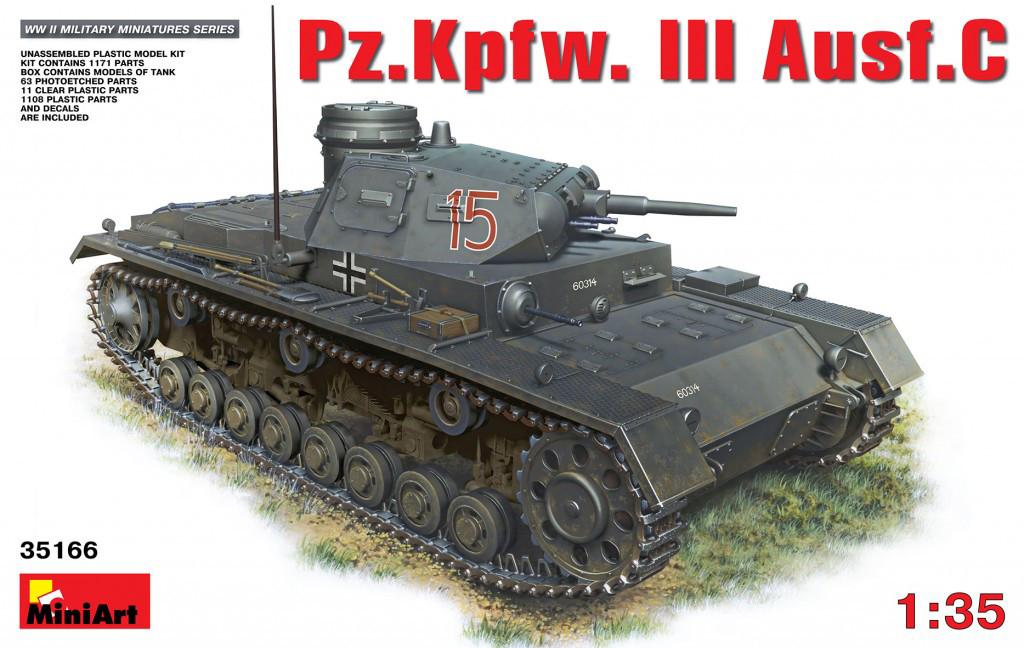 Pz. Kpfw. III С. Сборная модель немецкого танка в масштабе 1/35. MINIART 35166