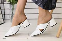 Мюли на каблуке белые из натуральной кожи 38-39 размер