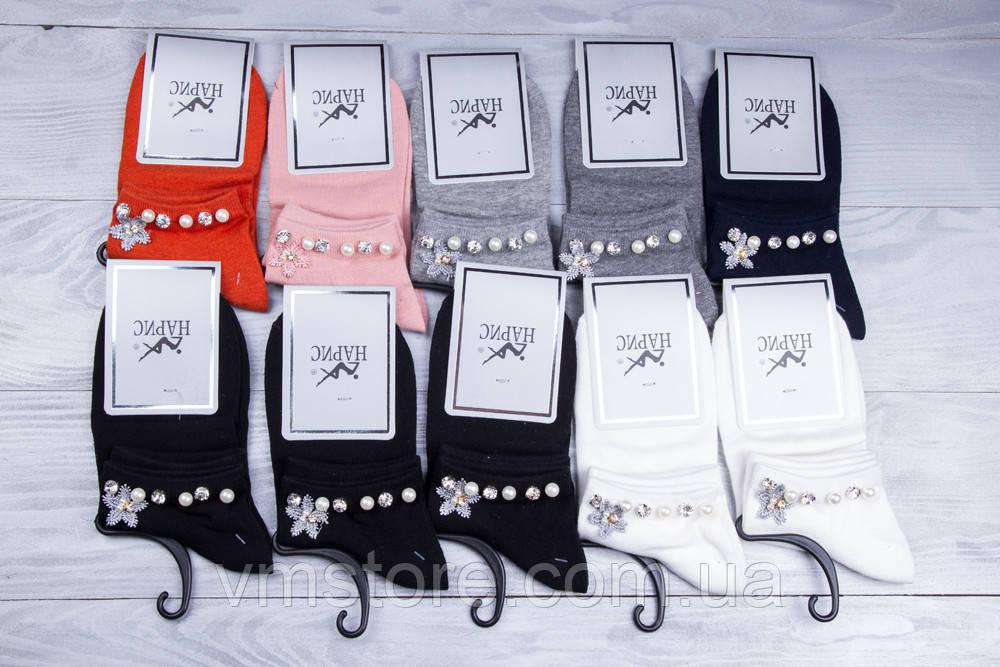 Носки женские, короткие со стразами 10 пар в упаковке, разные цвета
