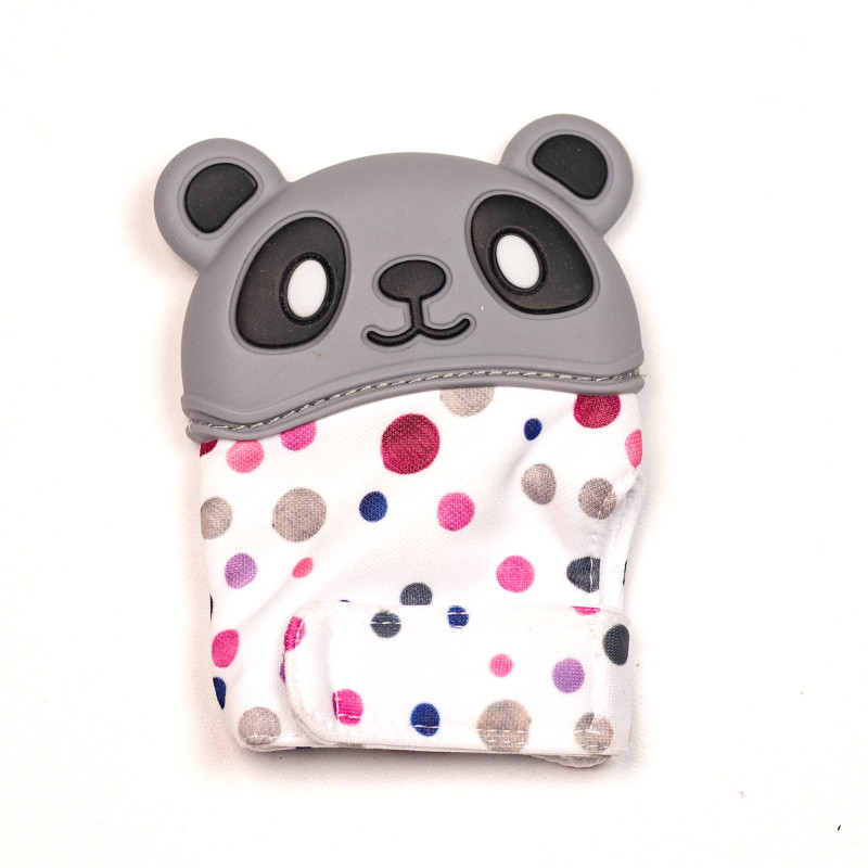 Варежка-грызунок SLINGOPARK «Панда» (серый с горошком)