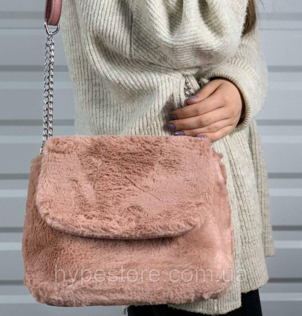 Красивая оригинальная женская сумка с искусственным мехом,Сумок много не бывает!!!