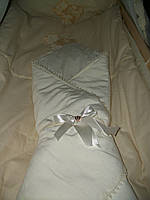 Конверт-одеяло на выписку Lari Велюр. Молочный, фото 1