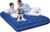 Велюровый матрас надувной Bestway 67002 синий полуторный