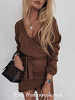 Женское стильное ангоровое платье на запах с длинным рукавом, фото 1