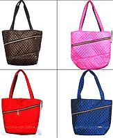 Женские стеганные сумки с косой змейкой (4 цвета ОДНОТОННЫЙ)29*32см